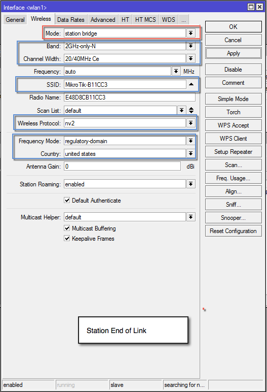 MikroTik Optimal Wireless Config for Transparent Point to